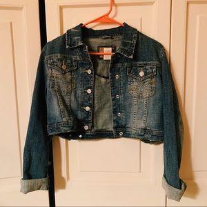 2000s Limited Too Rhinestone Cropped Denim Jacket